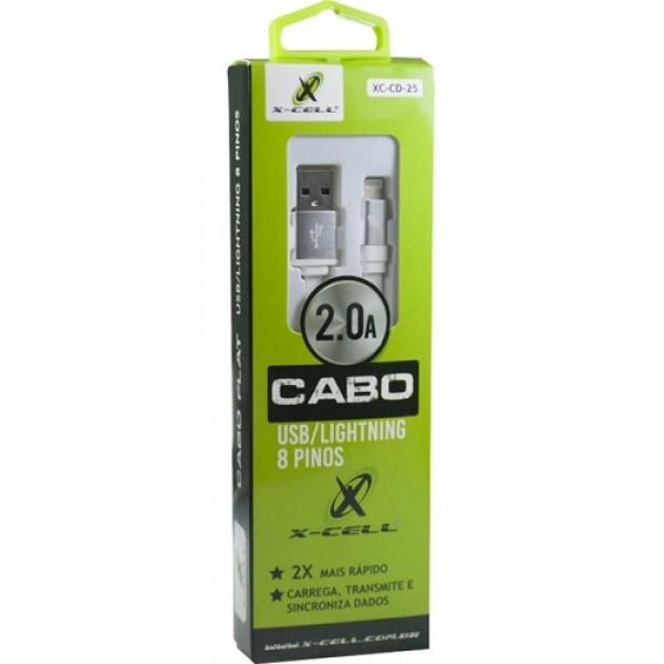 Cabo Carregador Turbo USB Flat 2.0A para IPhone Li...